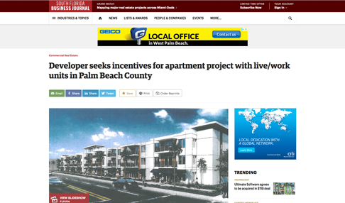 Developer Seeks Incentives for Apartment Project with Live/Work Units in Palm Beach County
