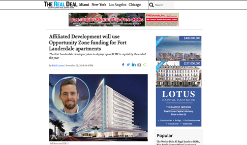 Affiliated Development will use Opportunity Zone Funding for Fort Lauderdale Apartments