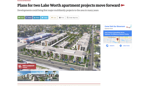 Plans for Two Lake Worth Apartment Projects Move Forward