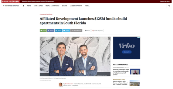 Affiliated Development launches $125M fund to build apartments in South Florida