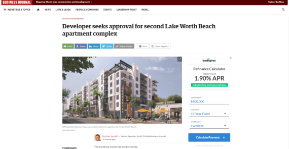 Developer seeks approval for second Lake Worth Beach apartment complex