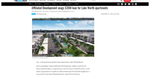 Affiliated Development snags $35M loan for Lake Worth apartments