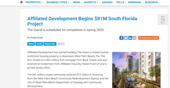 Affiliated Development Begins $81M South Florida Project