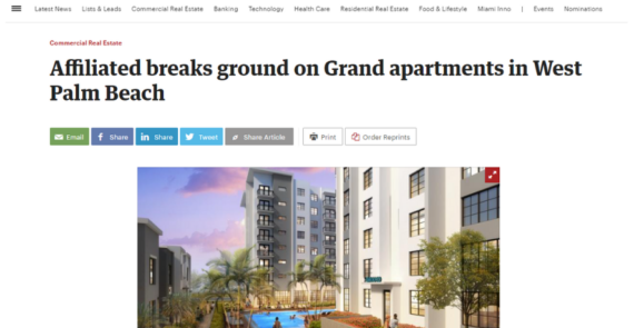 Affiliated breaks ground on Grand apartments in West Palm Beach